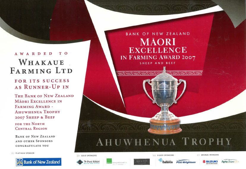 BNZ Maori Excellence in Farming Award 2007